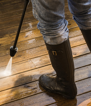 Powerwashing decking